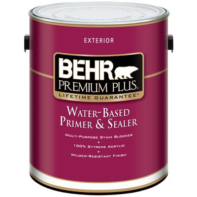 Behr behr premium plus exterior water based primer for Exterior water based paint