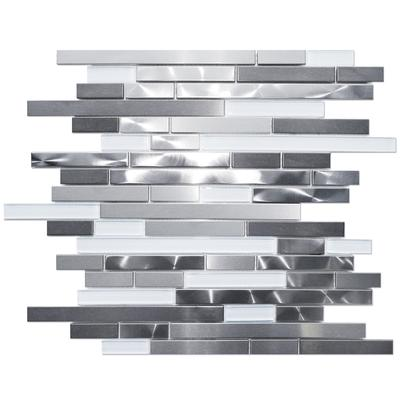 stainless steel metal and super white glass linear mosaic wall tile