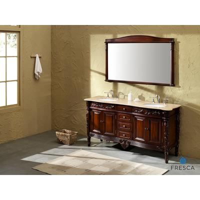 laberge antique double sink bathroom vanity with travertine countertop