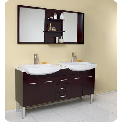 Elegant  Wenge Brown Modern Bathroom Vanity With Mirror FVN8125WG In Canada