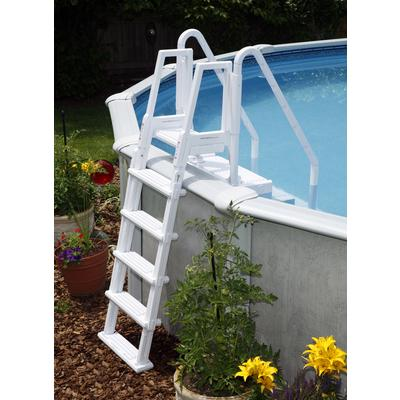 Swim time easy pool step with outside ladder for above for Above ground pool decks home depot