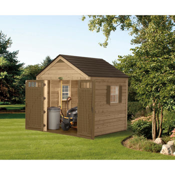 Suncast 8 Ft X 8 Ft Wood Resin Hybrid Storage Shed Costco Toronto