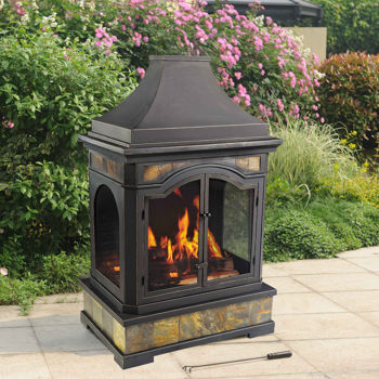 Sunjoy Monroe Outdoor Wood Burning Fireplace Costco
